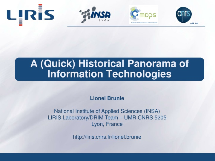 a quick historical panorama of information technologies n.