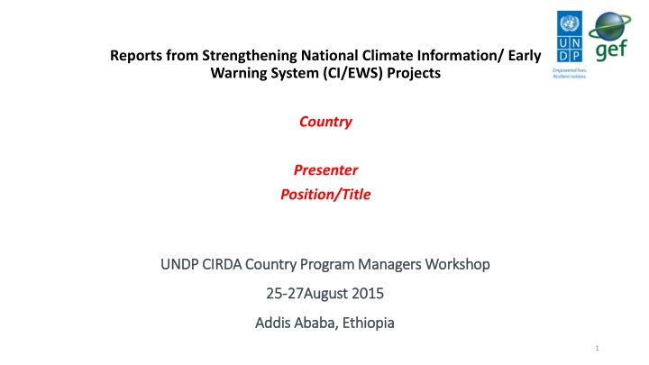 undp cirda country program managers workshop 25 27august 2015 addis ababa ethiopia n.
