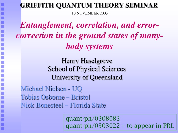 entanglement correlation and error correction in the ground states of many body systems n.