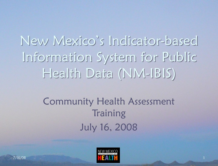 new mexico s indicator based information system for public health data nm ibis n.