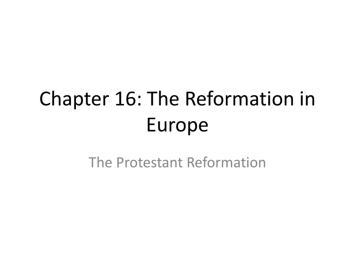 chapter 16 the reformation in europe n.