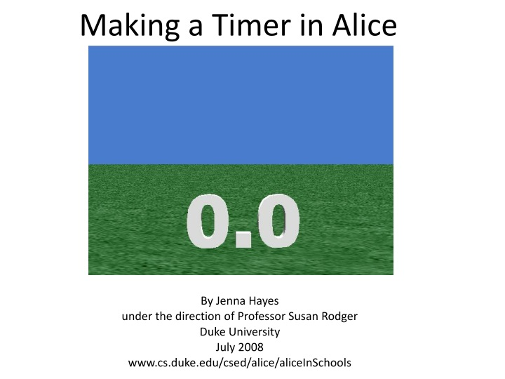 making a timer in alice n.