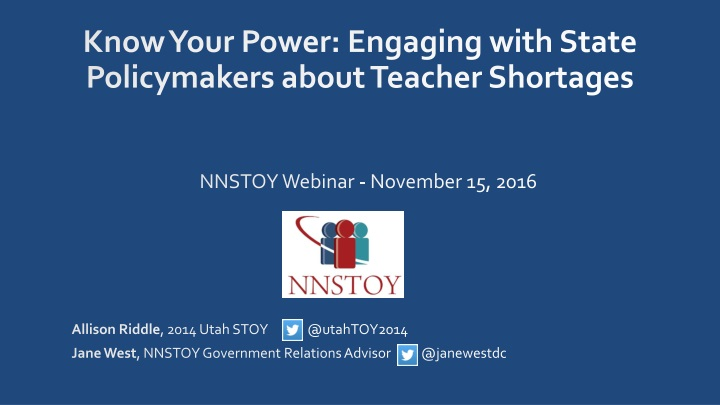 know your power engaging with state policymakers about teacher shortages n.