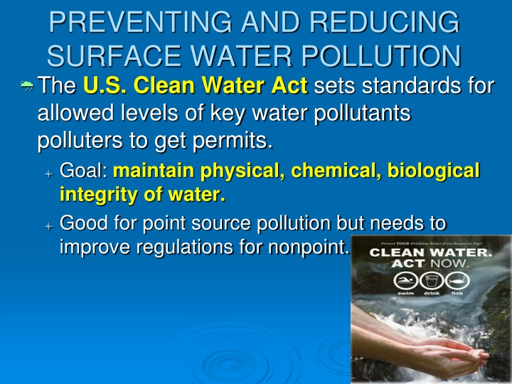 preventing and reducing surface water pollution n.