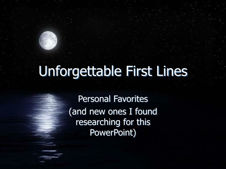 unforgettable first lines n.