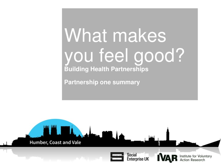 what makes you feel good building health partnerships partnership one summary n.
