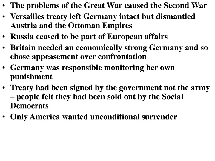 the problems of the great war caused the second n.