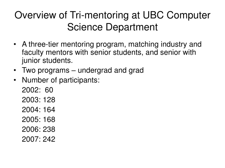 overview of tri mentoring at ubc computer science department n.