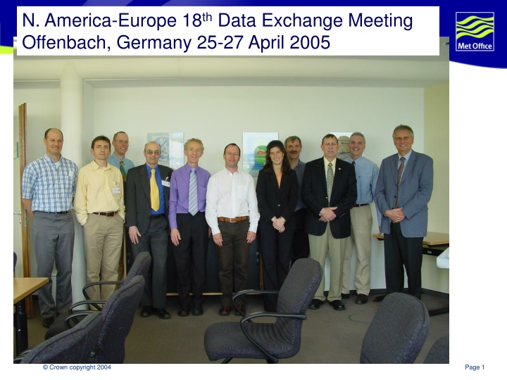 n america europe 18 th data exchange meeting offenbach germany 25 27 april 2005 n.