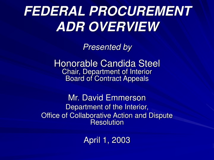 federal procurement adr overview n.