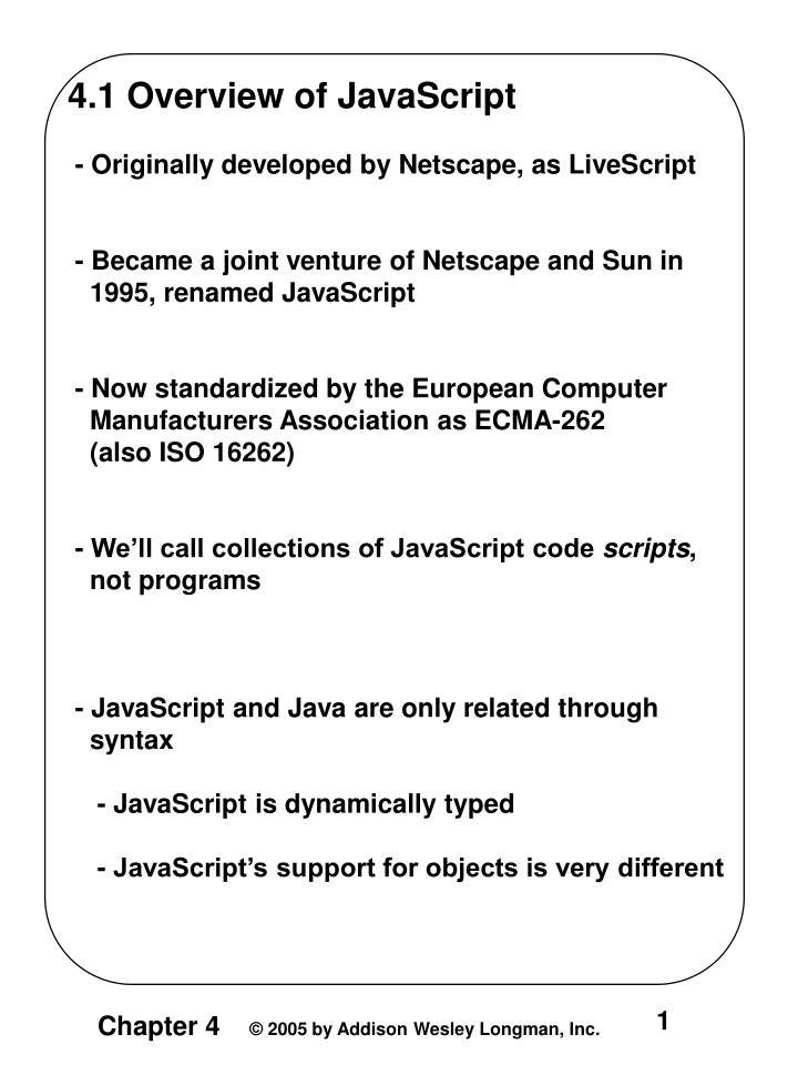4 1 overview of javascript originally developed n.