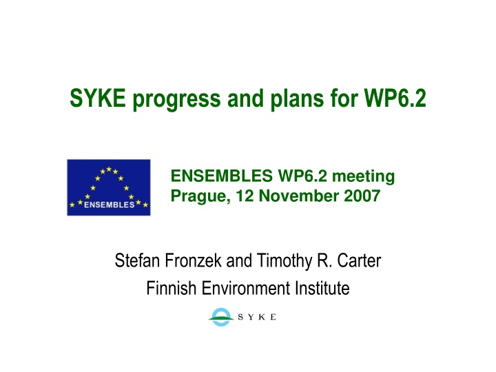 syke progress and plans for wp6 2 n.