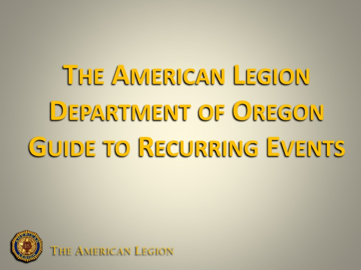 the american legion department of oregon guide to recurring events n.