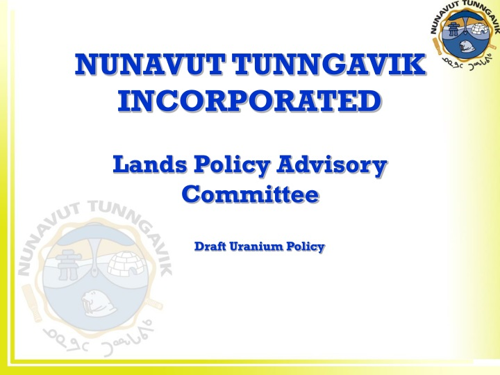 nunavut tunngavik incorporated lands policy advisory committee n.