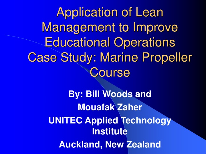 application of lean management to improve educational operations case study marine propeller course n.
