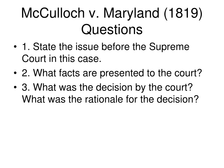 mcculloch v maryland 1819 questions n.