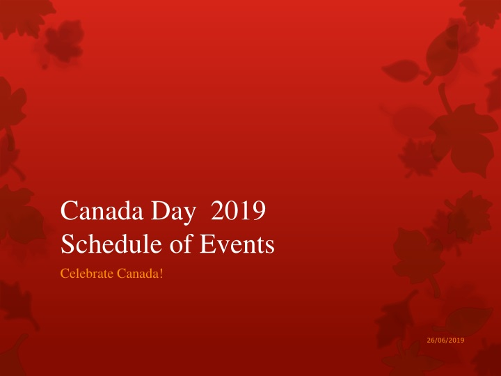 canada day 2019 schedule of events n.
