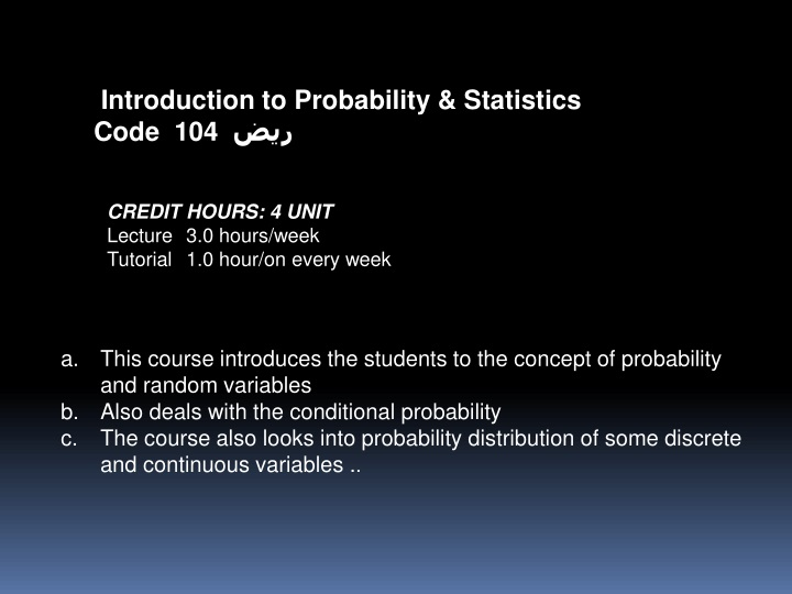 introduction to probability statistics code 104 n.