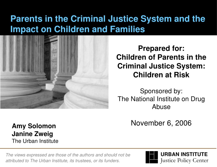 parents in the criminal justice system and the impact on children and families n.