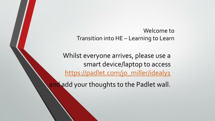 welcome to transition into he learning to learn n.