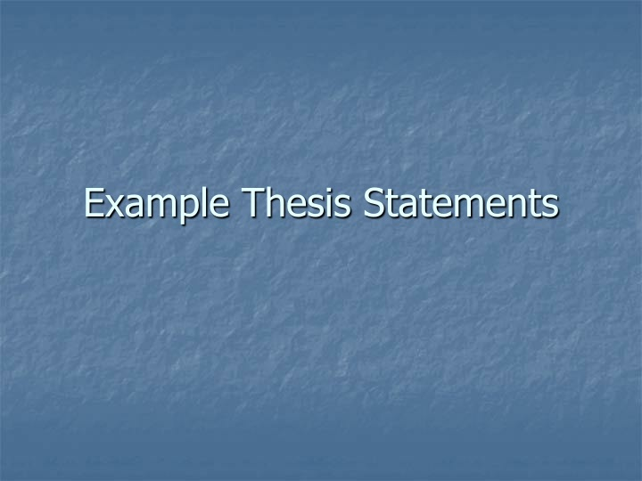 example thesis statements n.