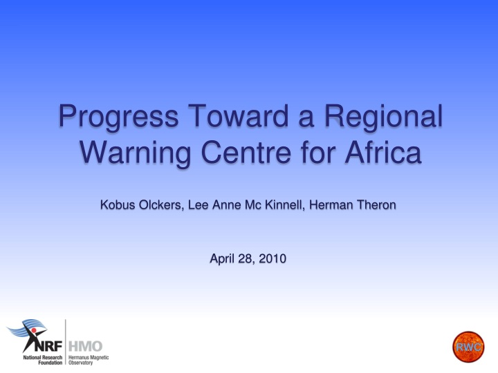 progress toward a regional warning centre for africa n.