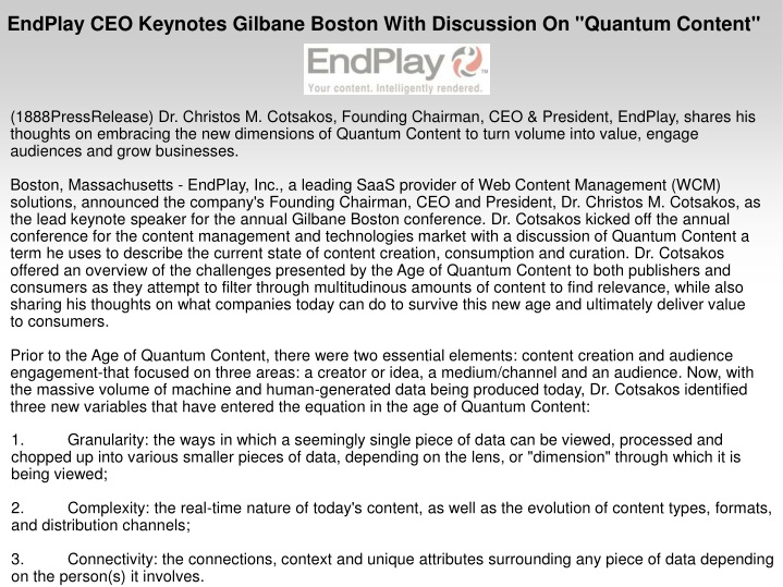 endplay ceo keynotes gilbane boston with n.