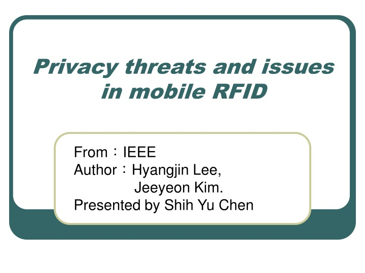 privacy threats and issues in mobile rfid n.