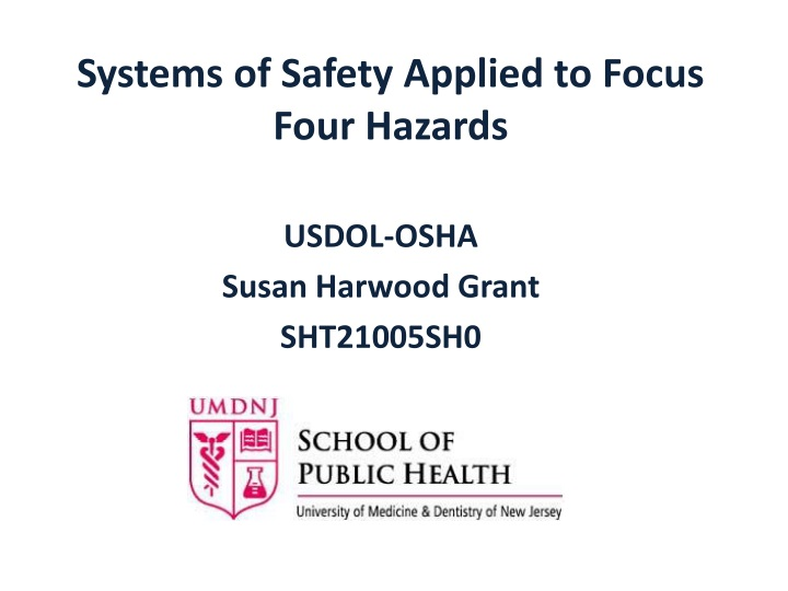 systems of safety applied to focus four hazards n.