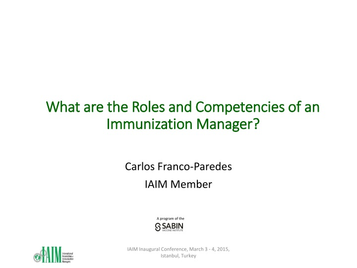 what are the roles and competencies of an immunization manager n.