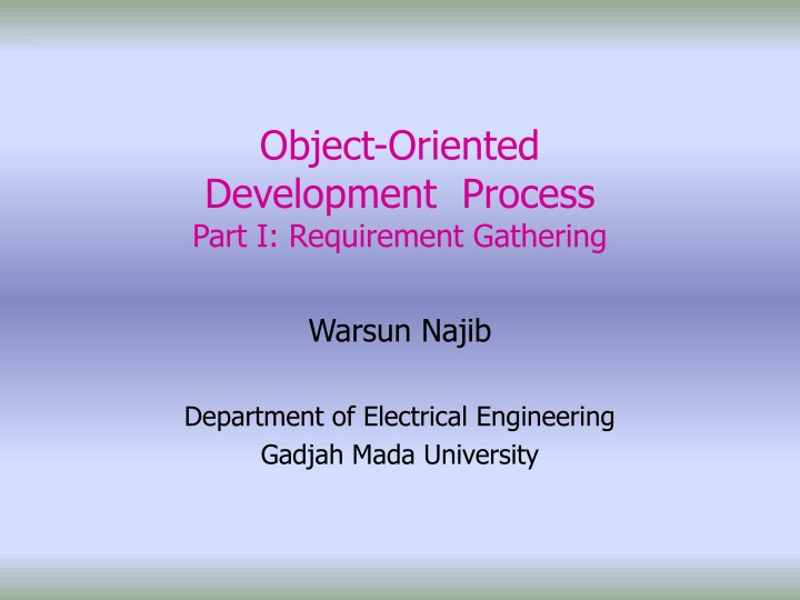 object oriented development process part i requirement gathering n.