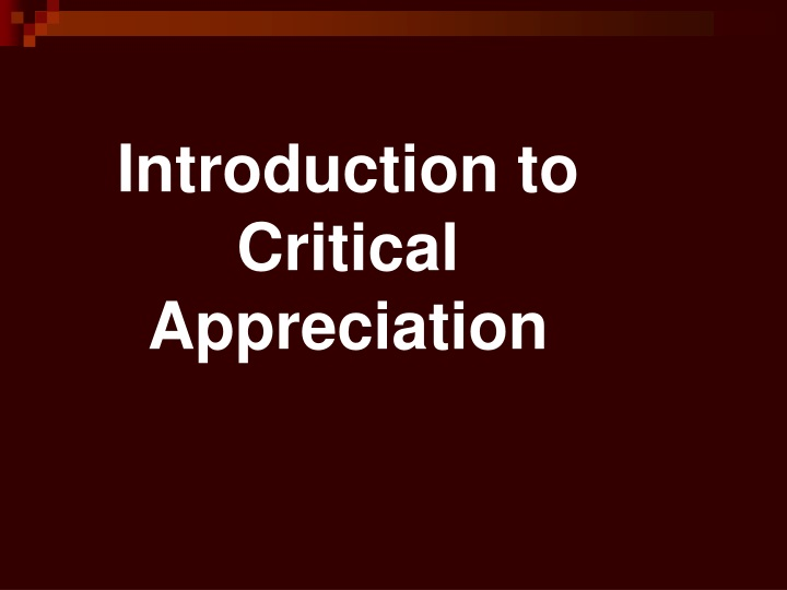 introduction to critical appreciation n.