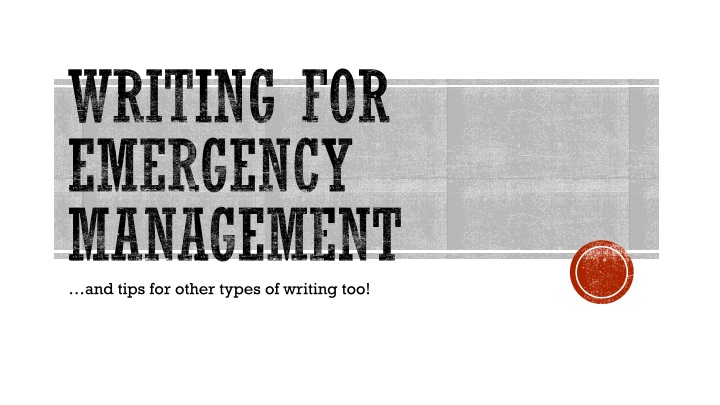 writing for emergency management n.