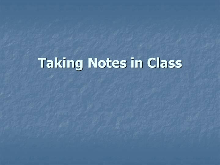 taking notes in class n.