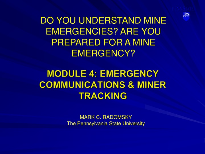 module 4 emergency communications miner tracking n.