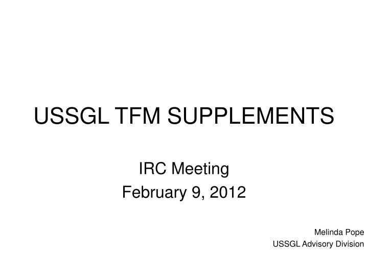 ussgl tfm supplements n.