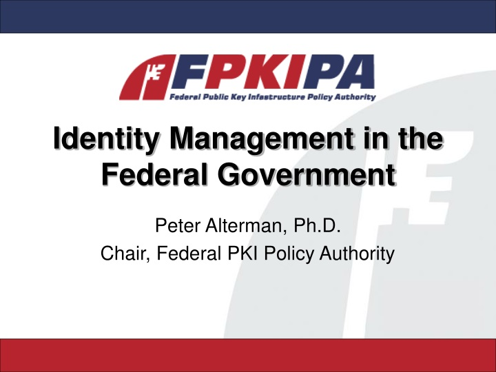 identity management in the federal government n.
