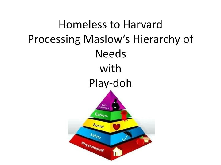 homeless to harvard processing maslow s hierarchy of needs with play doh n.