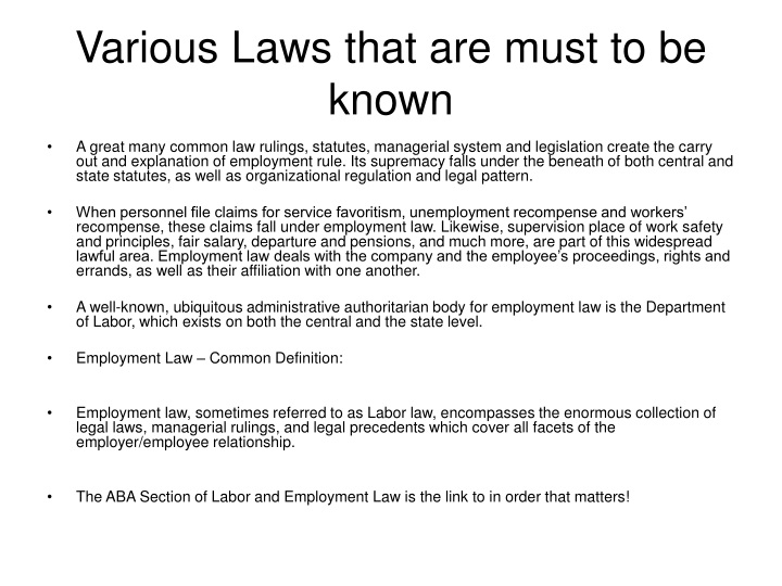 various laws that are must to be known n.