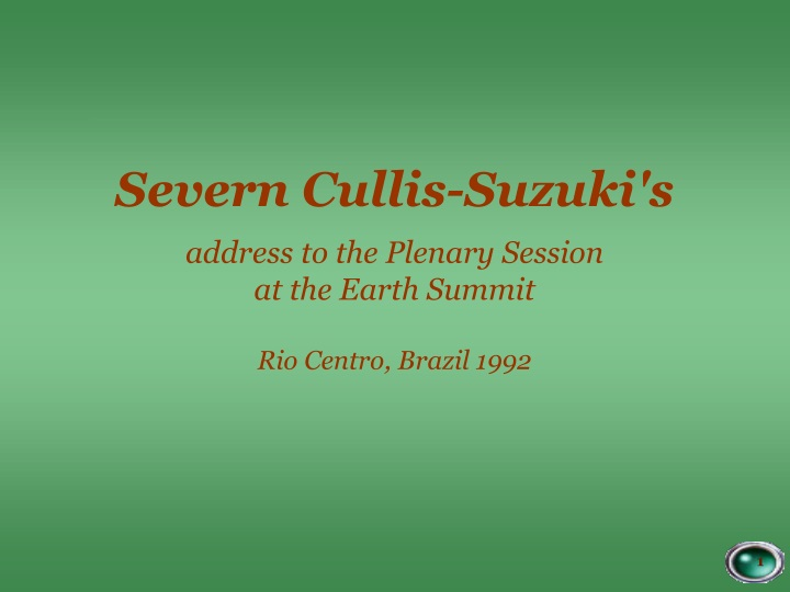 severn cullis suzuki s a ddress to the p lenary n.