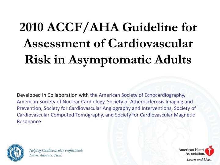 2010 accf aha guideline for assessment of cardiovascular risk in asymptomatic adults n.