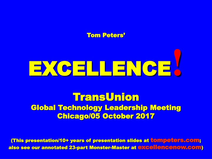 tom peters excellence transunion global n.