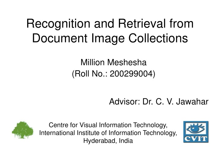recognition and retrieval from document image collections n.