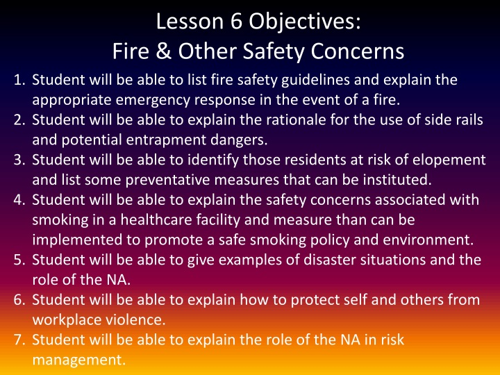 lesson 6 objectives fire other safety concerns n.