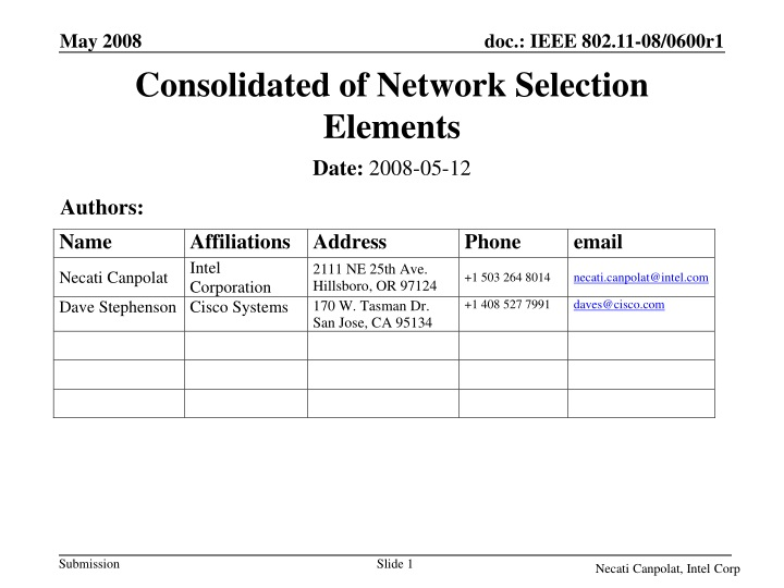 consolidated of network selection elements n.