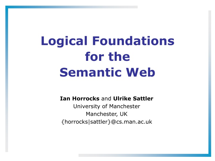 logical foundations for the semantic web n.