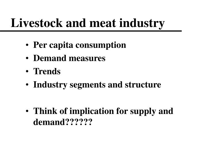 livestock and meat industry n.