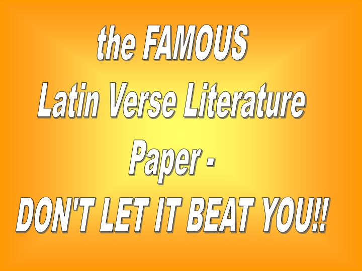 the famous latin verse literature paper n.