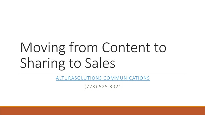 moving from content to sharing to sales n.