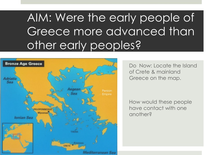 aim were the early people of greece more advanced than other early peoples n.